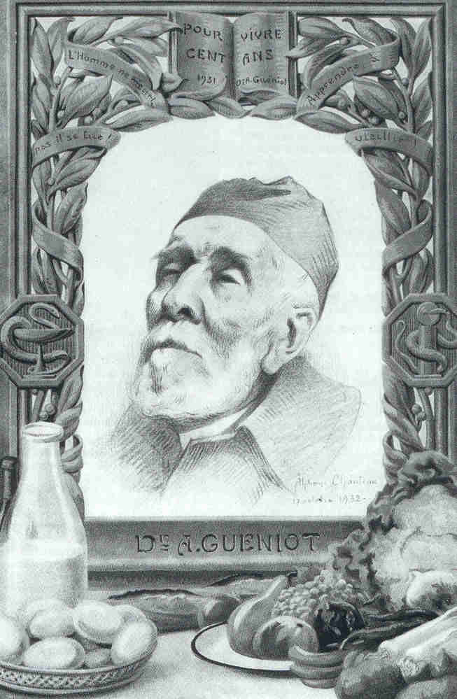 Dr A. Guéniot, caricature de A. Chanteau (Chanteclair, 1932).